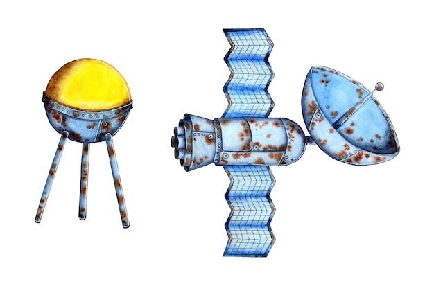Aquarel illustratie set van twee ruimte satellieten transmissie van radio televisie en mobiele communicatie signalen in de ruimte oude roestige ruimte technologie geïsoleerd op witte achtergrond