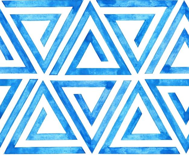 Aquarel illustratie van blauwe geometrische lijnen naadloze patroon in de vorm van een driehoek