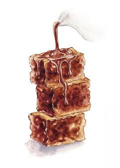 Aquarel illustratie van chocolade brownies geïsoleerd op een wit