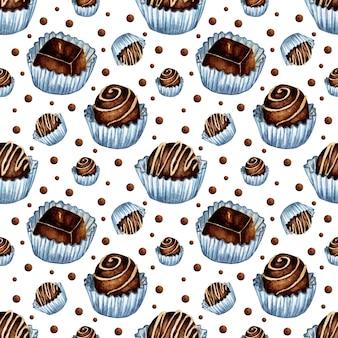 Aquarel illustratie van chocolade snoep patroon naadloze herhalende zoetheid pri