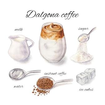 Aquarel illustratie van dalgona koffie en ingrediënten