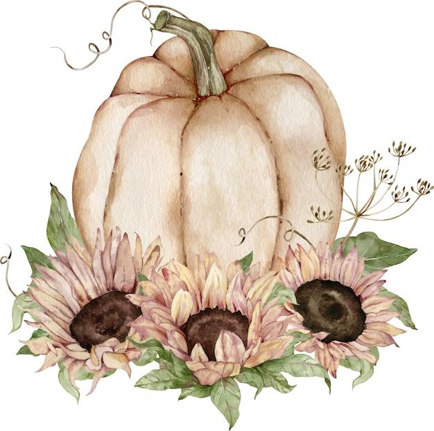Aquarel illustratie van de beige pompoen versierd met zonnebloemen