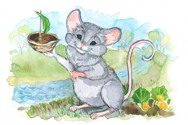 Aquarel illustratie van de muis lanceert een boot in de kreek.