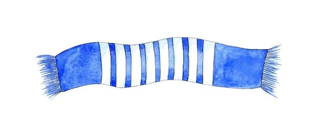 Aquarel illustratie van een blauw gestreepte sjaal gebreid garderobe item voetbal fan sjaal