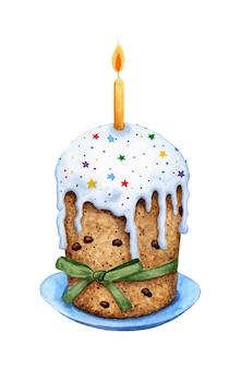 Aquarel illustratie van een cake in suikerglazuur met gebak hagelslag en een kaars. pasen cupcake met groen lint. pasen, religie, traditie. geïsoleerd op een witte achtergrond. met de hand getekend.