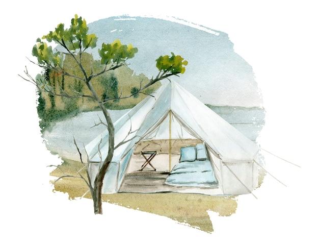 Aquarel illustratie van een camping tent.