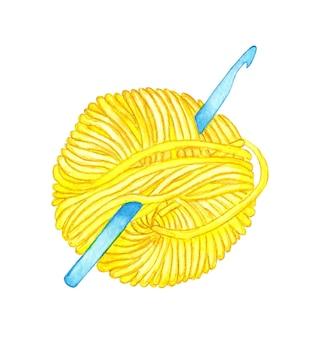Aquarel illustratie van een haaknaald gestoken in een gele streng een bol wol om te breien