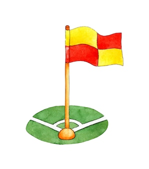 Aquarel illustratie van een hoekvlag voor een voetbalveld voetbaluitrusting symbool speciaal