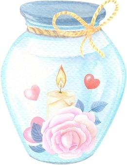 Aquarel illustratie van een kaars, een roze roos en harten in een glazen pot.