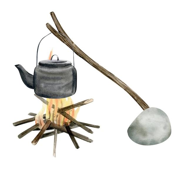 Aquarel illustratie van een kampeervakantie reizen.
