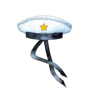 Aquarel illustratie van een matrozenhoed professionele zeemanskleding matrozenuniform visor cap w