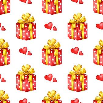 Aquarel illustratie van een rode tot witte erwtendoos met een gele strik vakantiegeschenken verpakte geschenkdozen