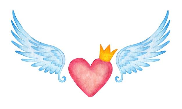 Aquarel illustratie van een roze hart in een kroon met engelenvleugels.