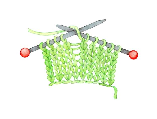 Aquarel illustratie van gebreide groene stof op breinaalden breien door steek breien