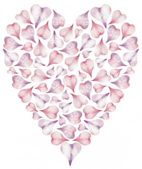Aquarel illustratie van hart gemaakt van roze hartvormige bloemblaadjes.