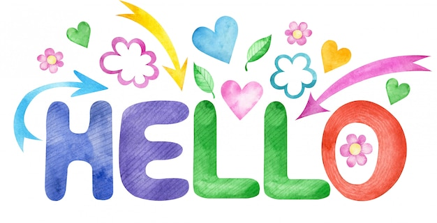 Aquarel illustratie van kleurrijke woord hallo met bloemen, pijlen en harten geïsoleerd op wit
