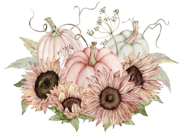 Aquarel illustratie van pastel pompoenen versierd met zonnebloemen