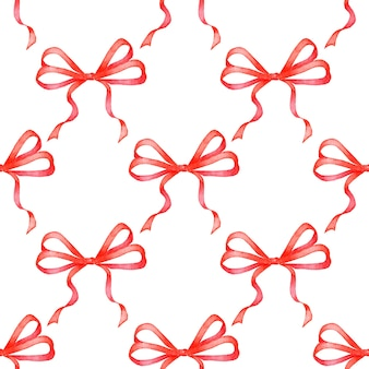 Aquarel illustratie van rode linten patroon naadloze herhalende vakantie boog print christmas