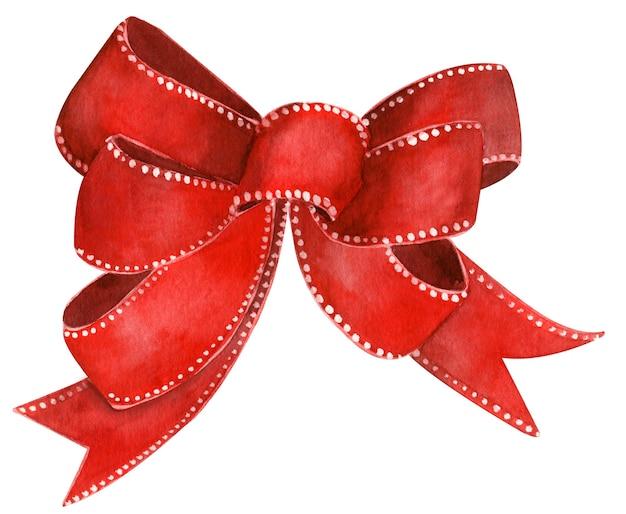 Aquarel illustratie van rode strik geïsoleerd. handgetekende kunst. kerst ontwerp.