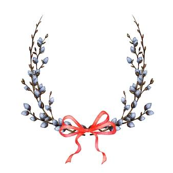 Aquarel illustratie van tedere takken. pasen krans. botanisch frame van wilgenoorbellen vastgebonden met een blauwe strik. pasen decoratie ontwerp. geïsoleerd op een witte achtergrond.