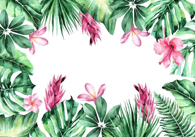 Aquarel illustratie van tropische bladeren. frame van tropische bladeren. uitnodiging voor de bruiloft