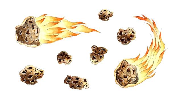 Aquarel illustratie verzameling van meteoren met vallende kometen