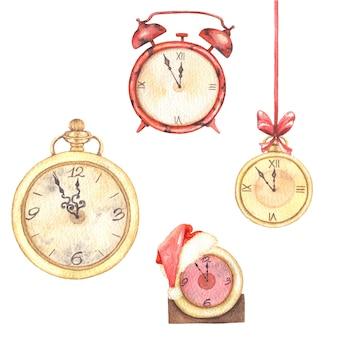 Aquarel illustraties illustraties kerstset met vintage klokken in goud.