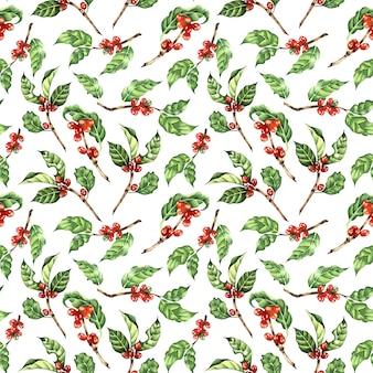 Aquarel illustraties koffie boomtak bladeren bonen naadloos herhalend patroon