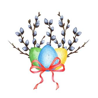 Aquarel illustraties van drie gekleurde eieren groen geel blauw met een rode strik en wilgentakken