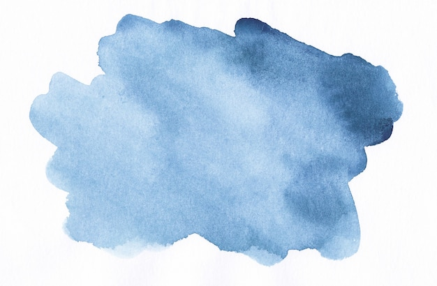 Aquarel inkt blauwe plek op witte achtergrond