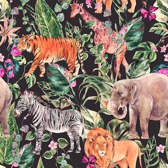 Aquarel jungle naadloze patroon, safari dieren bloemen zomer textuur. tropische aquarel giraf, olifant.