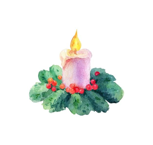 Aquarel kaars met kerstboomtak op witte achtergrond