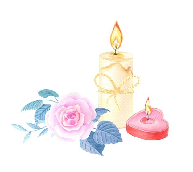 Aquarel kaarsen met roze roos. rood hart is een symbool van liefde. kaart voor valentijnsdag.