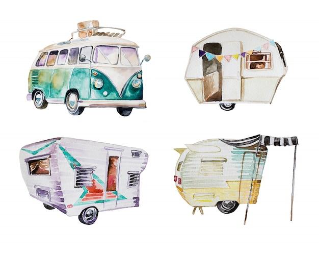 Aquarel kampeerwagens