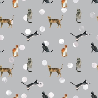 Aquarel katten patroon op polka dot achtergrond. vintage kattenpatroon voor textiel of inpakpapier.