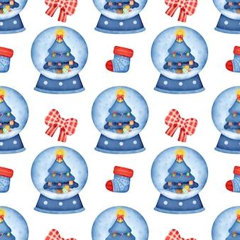 Aquarel kerst dessert naadloze patronen. Premium Foto