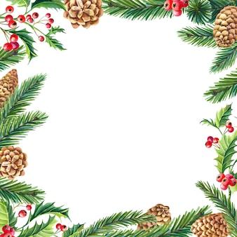 Aquarel kerst frame hulst, bladeren, bessen, dennen, groene sparren, dennenappels