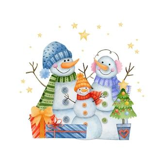 Aquarel kerst illustratie gelukkig nieuwjaar wenskaart happy holidays