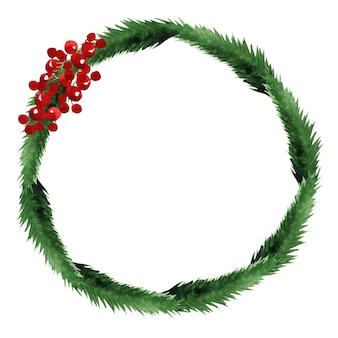 Aquarel kerst krans frame illustratie