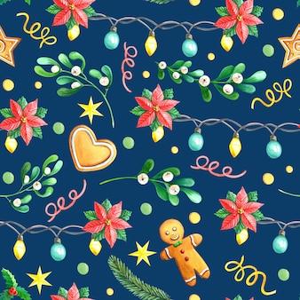 Aquarel kerst naadloze patroon met peperkoek