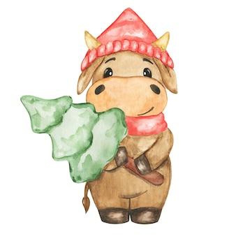 Aquarel kerst stier set, hand getrokken koe in rode hoed clipart, nieuwjaar 2021 symbool, stier clipart