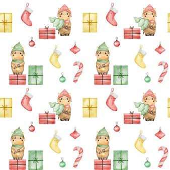 Aquarel kerst stieren naadloze patroon,