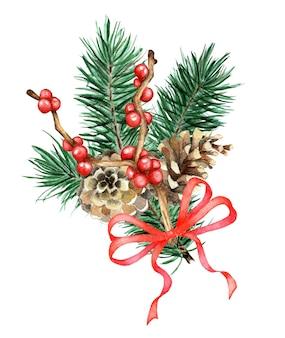 Aquarel kerstcompositie met dennentakken kegels en rood lint met de hand geschilderd traditioneel