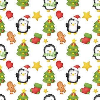 Aquarel kerstdag met schattige pinguïns naadloze patronen.