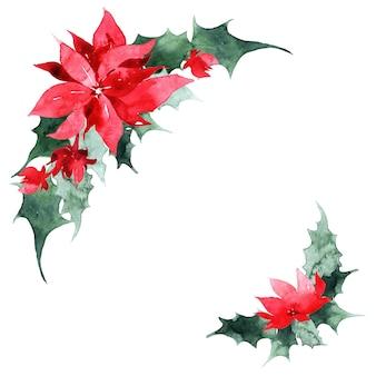 Aquarel kerstkrans met boom, hulst en poinsettia