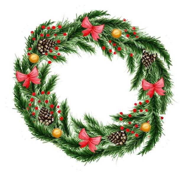 Aquarel kerstkrans met decoraties.