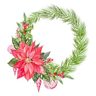 Aquarel kerstkrans met dennentakken. illustratie voor wenskaarten en uitnodigingen. illustratie