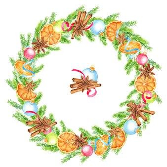 Aquarel kerstkrans met sinaasappels, anijs sterren en kaneelstokjes.