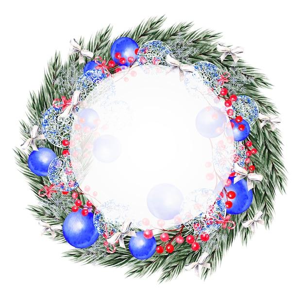 Aquarel kerstkrans met speelgoed, boog, bessen en dennen. illustratie voor wenskaarten en uitnodigingen.