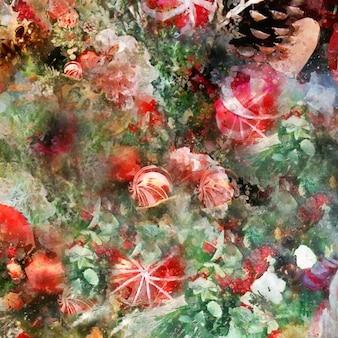 Aquarel kerstmis achtergrond. kerstboomtak, decoraties, speelgoed. concept kerstkaart, cadeaupapier, poster, behang gelukkig nieuwjaar